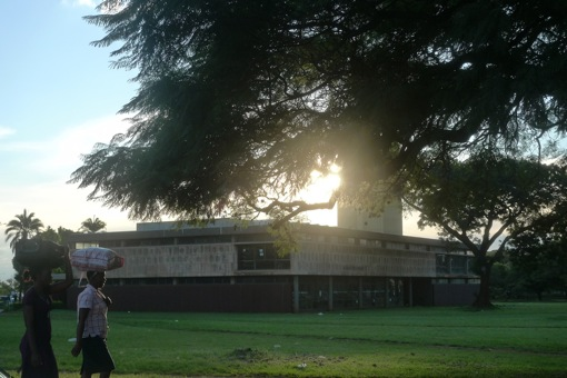 Harare National Library at sunset.